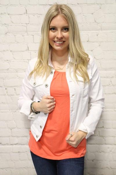 Time to Shine White Button Down Denim Jacket-Sizes-4-20