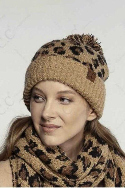 Lucious Leopard Boucle Knit Beanie in Multiple Colors