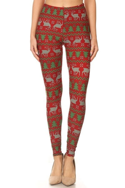 So Cute Reindeer & Christmas Tree Leggings in Red - Sizes 4-20