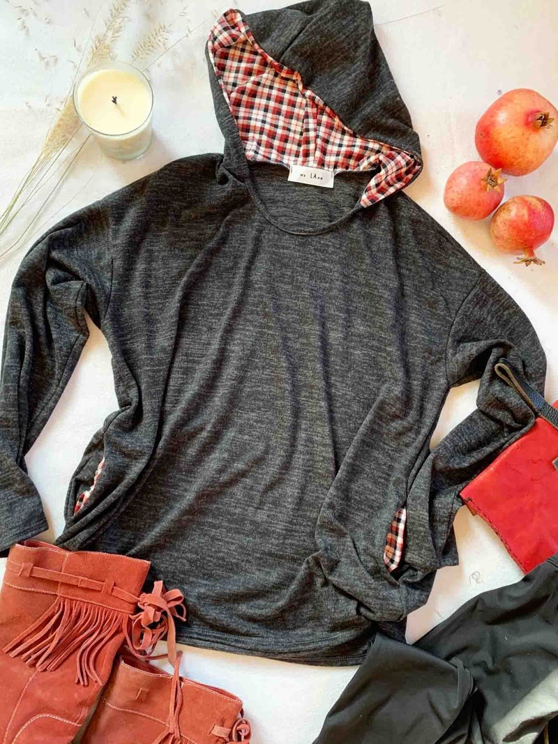 Working for the Best Gray Hoodie with Plaid Accent - Sizes 4-10