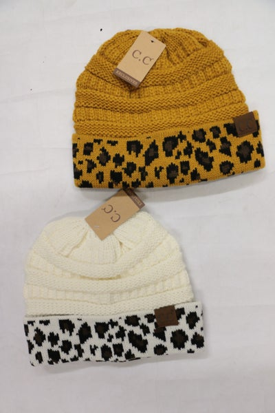 It's a Great Day Crochet CC Beanie with Leopard Accent in Multiple Colors
