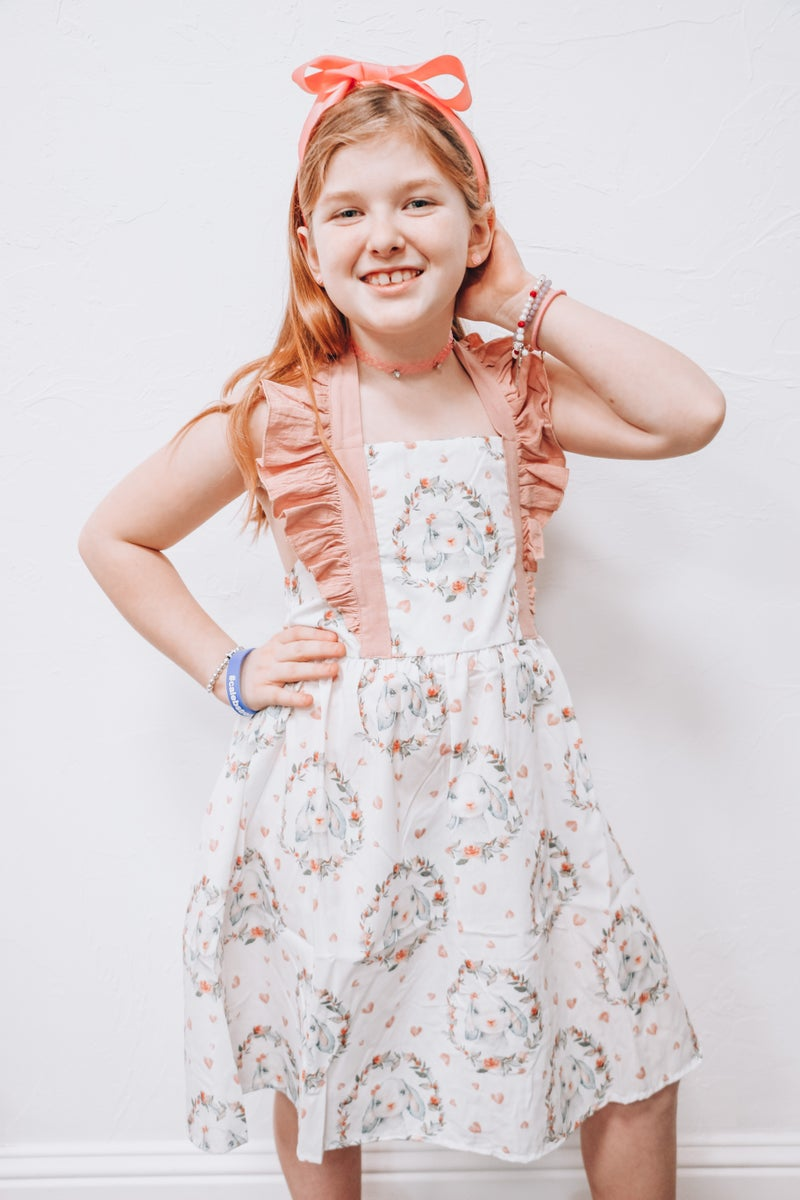 Hop Hop Hopping into Spring Easter Bunny Dress with Criss Cross Back - Sizes 6M - 8Y