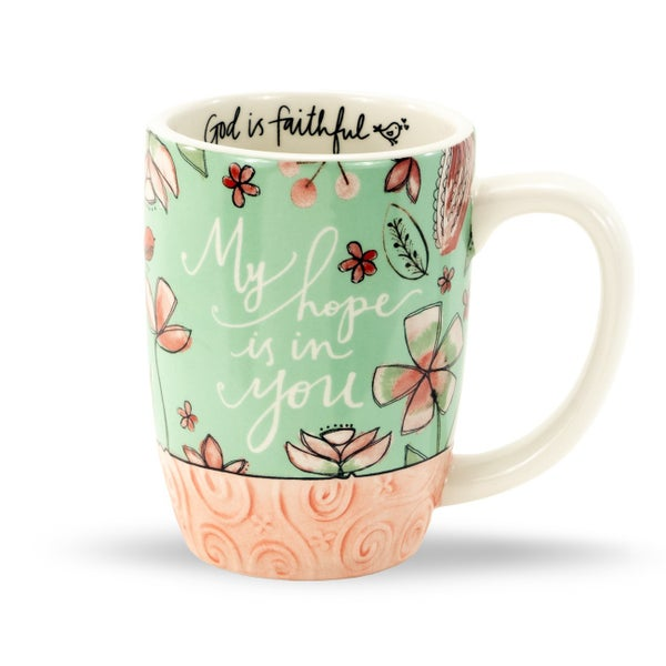 My Hope is in You Mint Floral Coffee Mug
