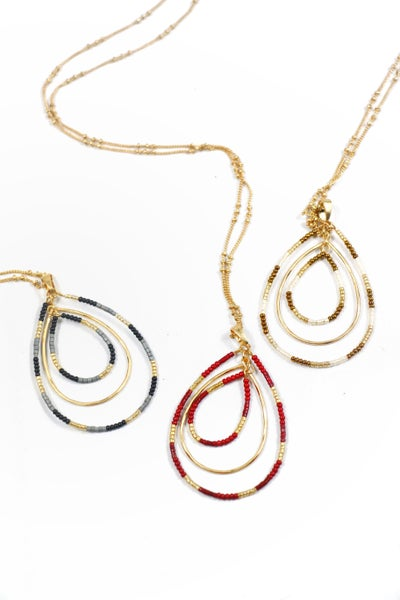Never Lost Long Necklace With 3 Teardrop Seed Bead And Gold Hoop Pendant In Multiple Colors