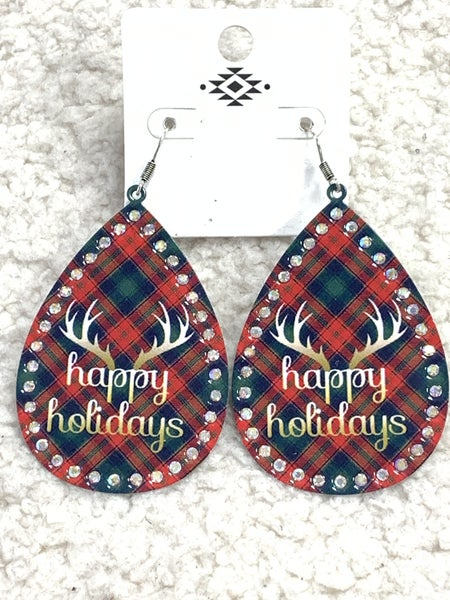 Happy Holidays Metal Plaid Earring With Antlers And Bling In Silver