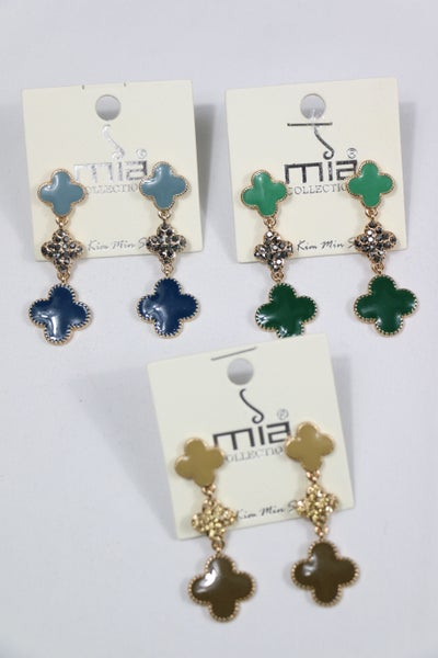On The Edge Triple Clover Drop Earring In Multiple Colors