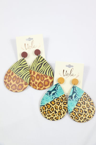 Call Of The Wild Animal Print Wood Teardrop Earring in Multiple Prints