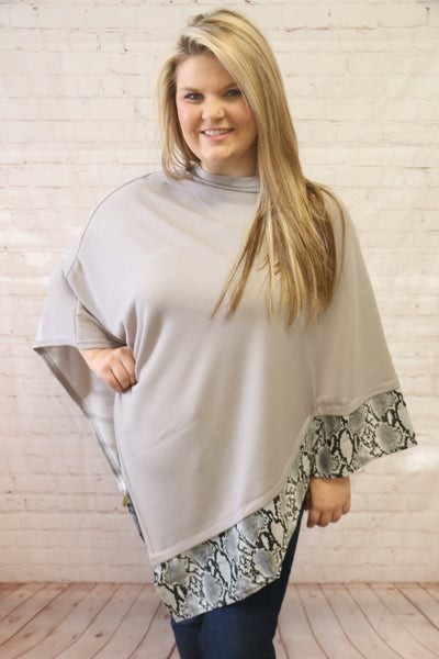 In Plain Sight Gray Poncho With Snakeskin Trim - OS