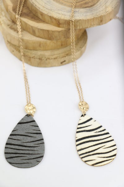 About Town Long Gold Necklace With Zebra Stripe Teardrop Pendant In Multiple Colors
