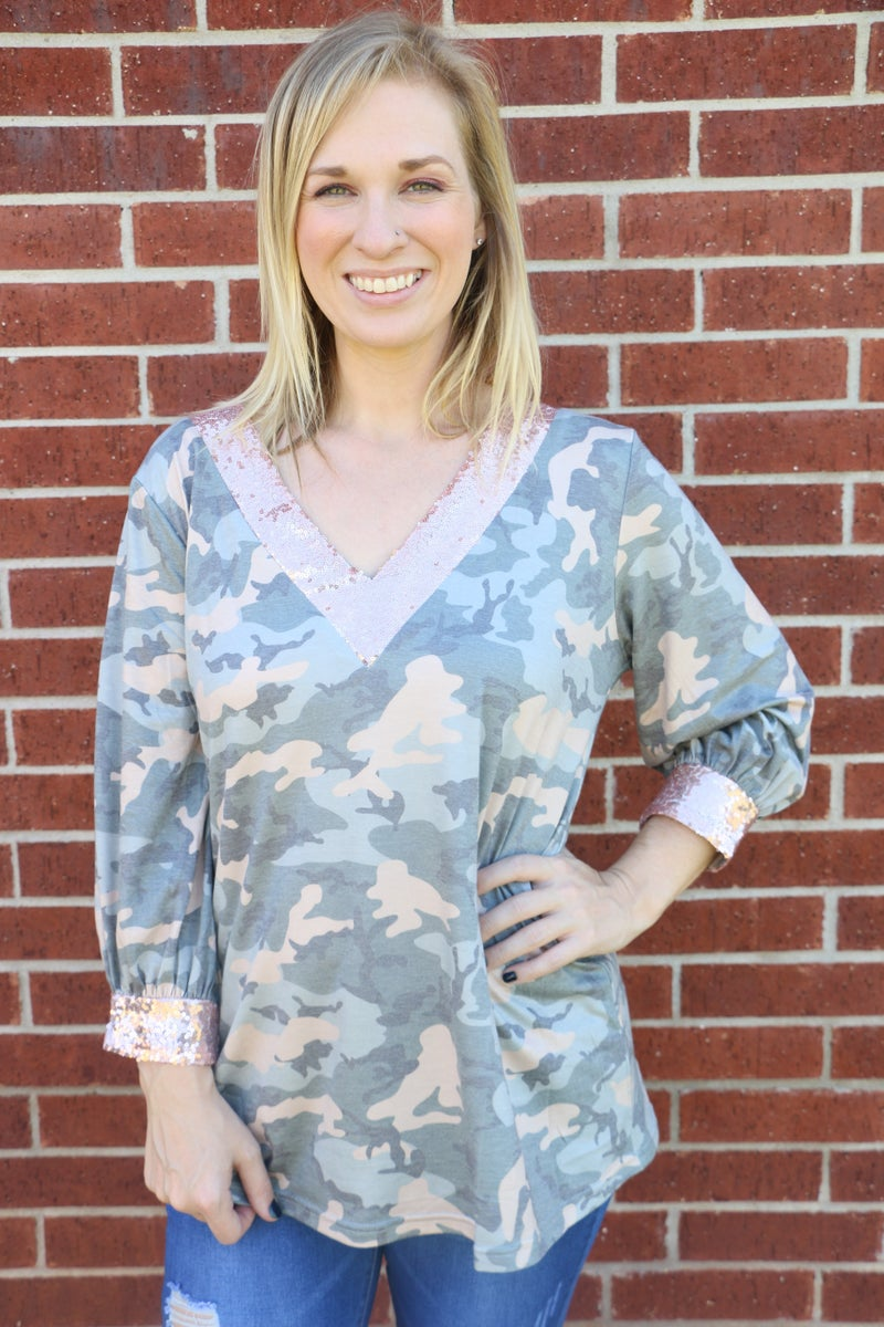 Always First V-Neck Camo Long Sleeve Top with Rose Gold Sequin Accents - Sizes 4-20
