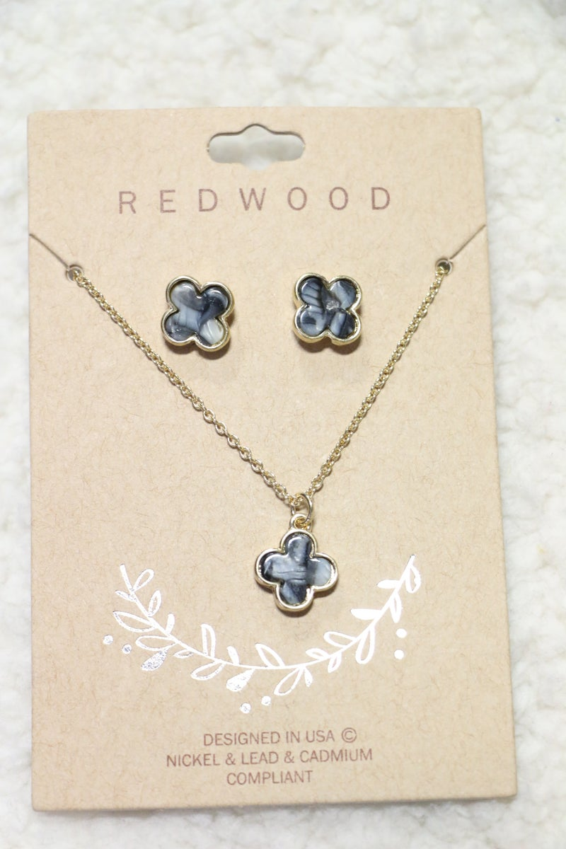 Always Yours Gray Clover Necklace and Earring Set