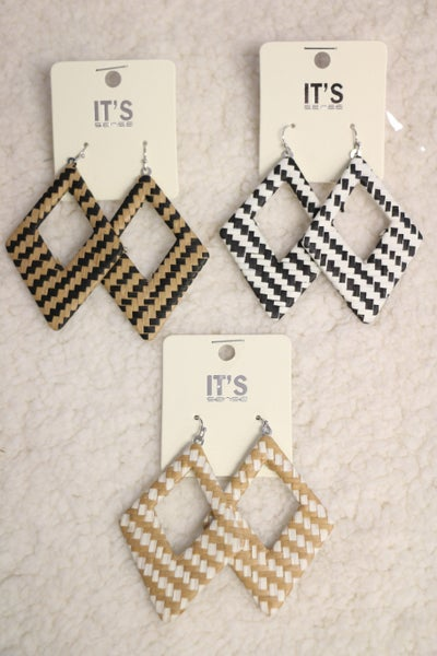 Groovy Woven Diamond Cutout Earring in Multiple Colors