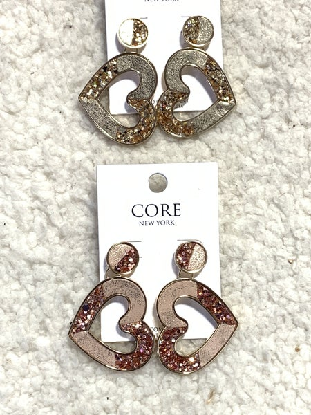 True To My Heart Sparkly Two Tone Heart Earring In Multiple Colors