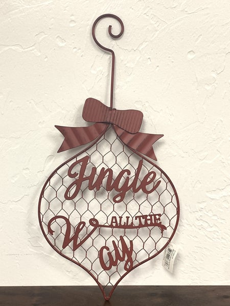 Jingle All The Way Red Metal Chicken Wire Ornament Wall Hanging