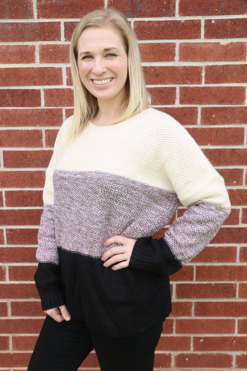 Try Again Ivory, Mocha, Black Colorblock Sweater - Sizes 4-12