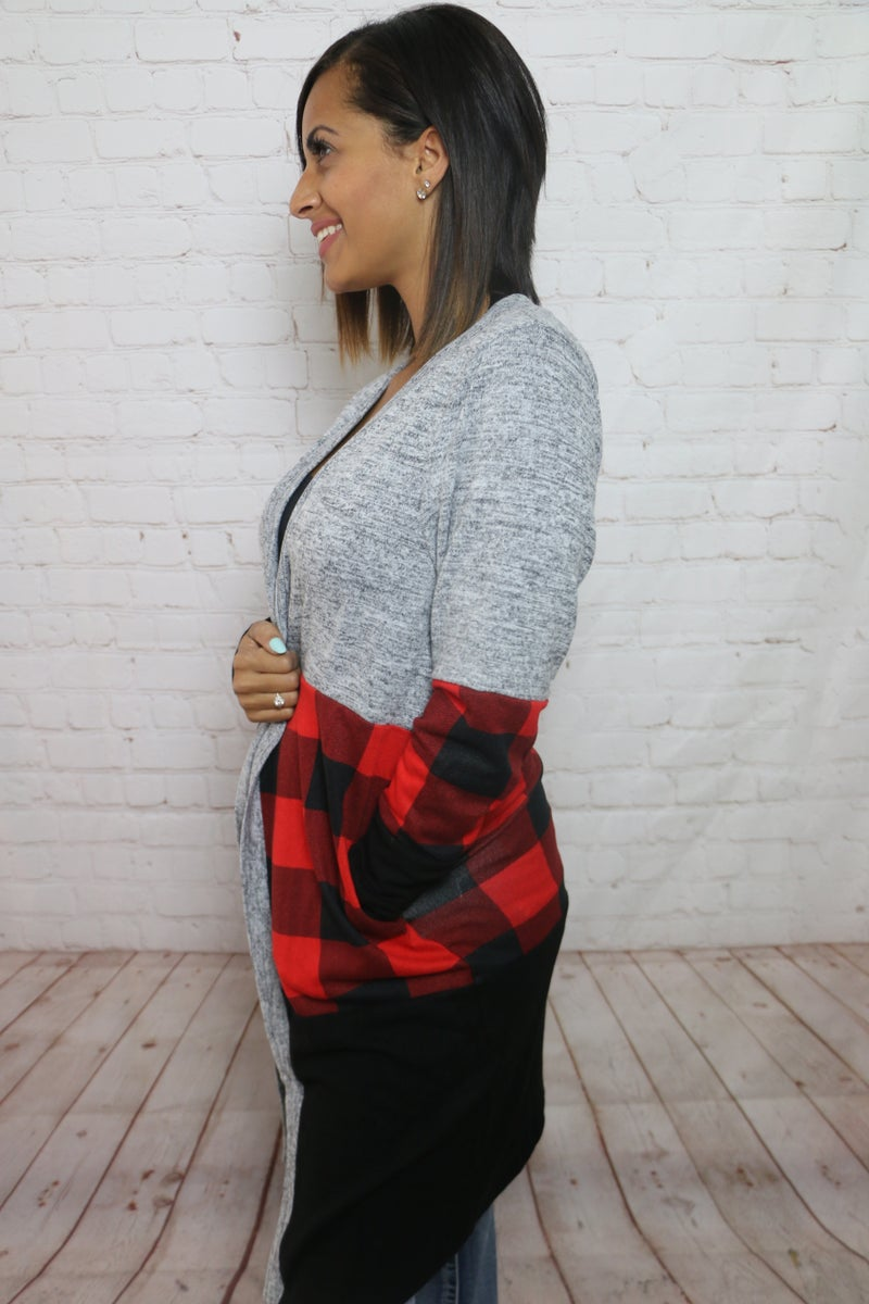 Nothing but Smiles Buffalo Check Color Block Cardigan - Sizes 4-20