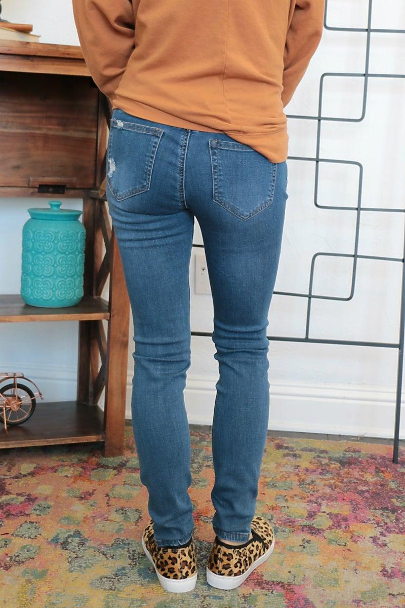 The Sandy Medium Denim Distressed Jeans- Sizes 1-15