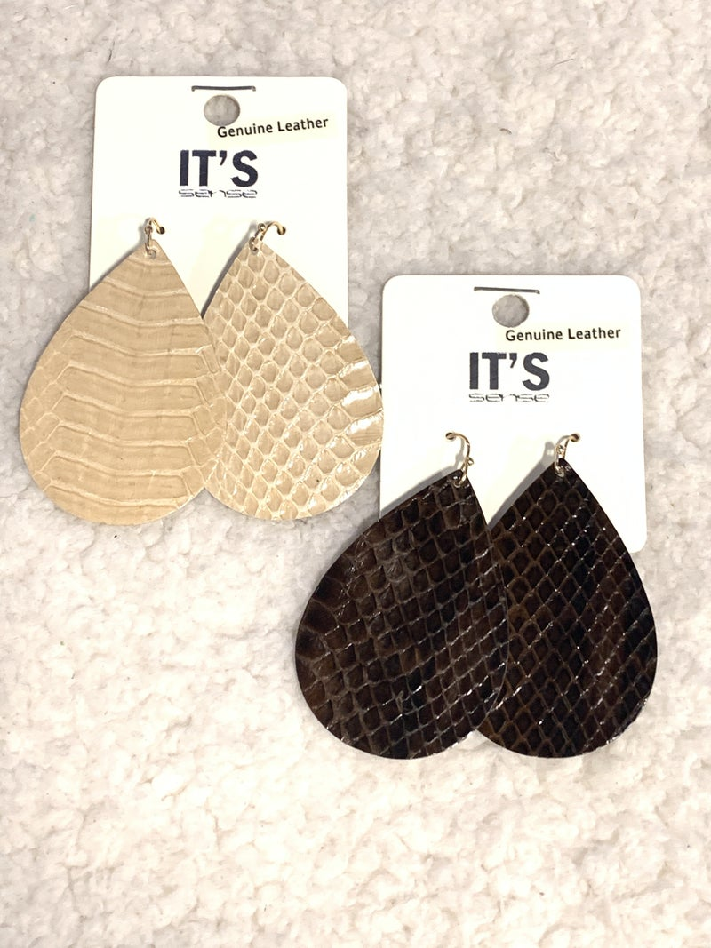 Night And Day Leather Snakeskin Teardrop Earring In Multiple Colors