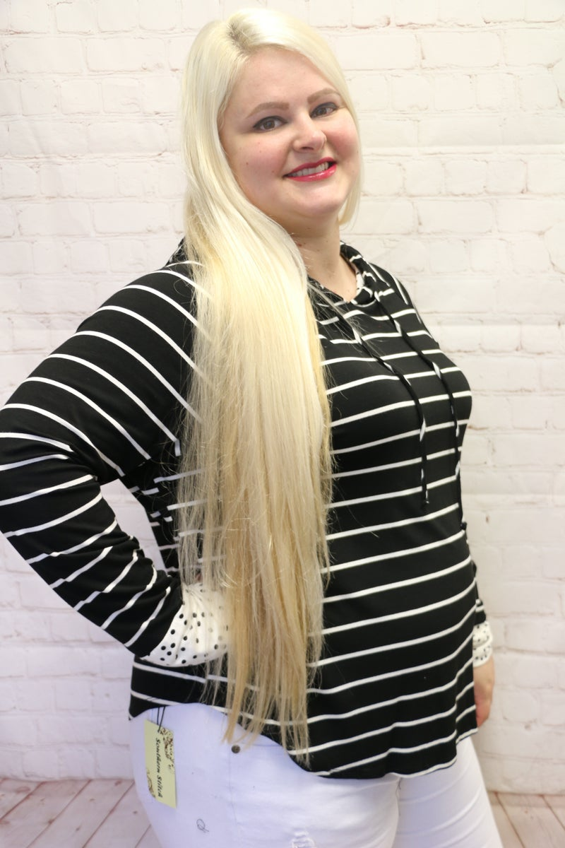 It's My Thing Black Striped Hoodie with Polka Dot Accents - Sizes 4-20