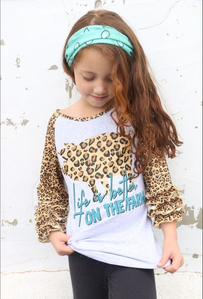 Life is Better on the Farm Leopard Pig with Leopard Ruffle Sleeve Girls Top - Sizes 6M - 8Y