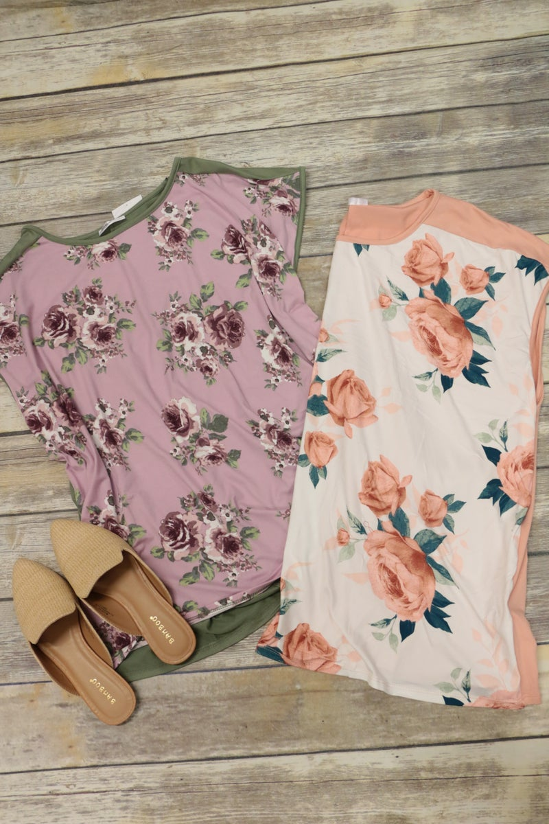 So Charming Floral Contrast Top in Multiple Colors - Sizes 12-20