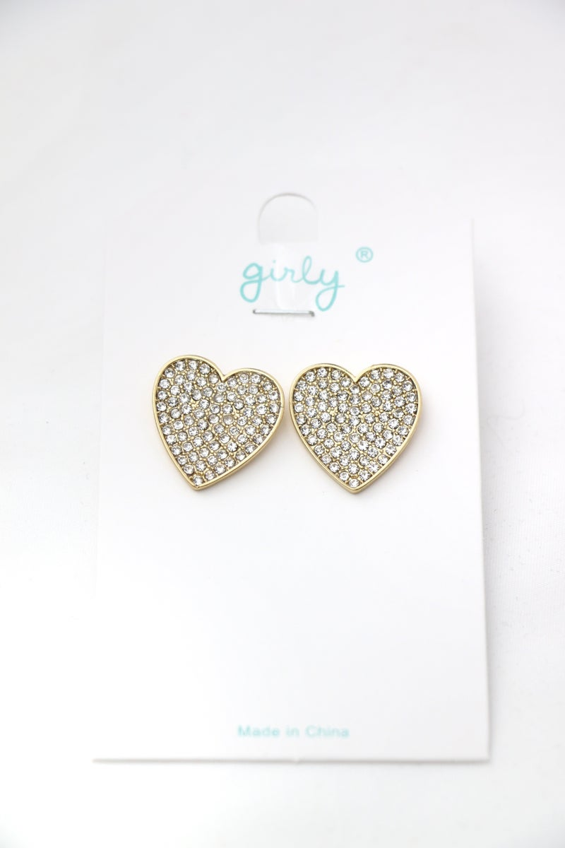 From The Heart Gold Crystal Beaded Heart Post Earring