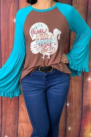 Grateful, Thankful, Blessed Turkey Shirt with Bell Sleeve - Sizes  4-20