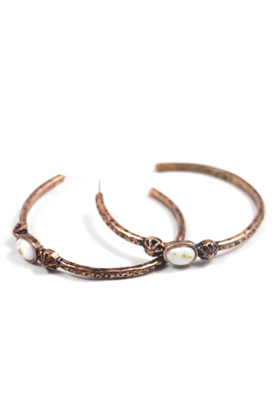 Wanted Copper Hoop Earrings With White Stone