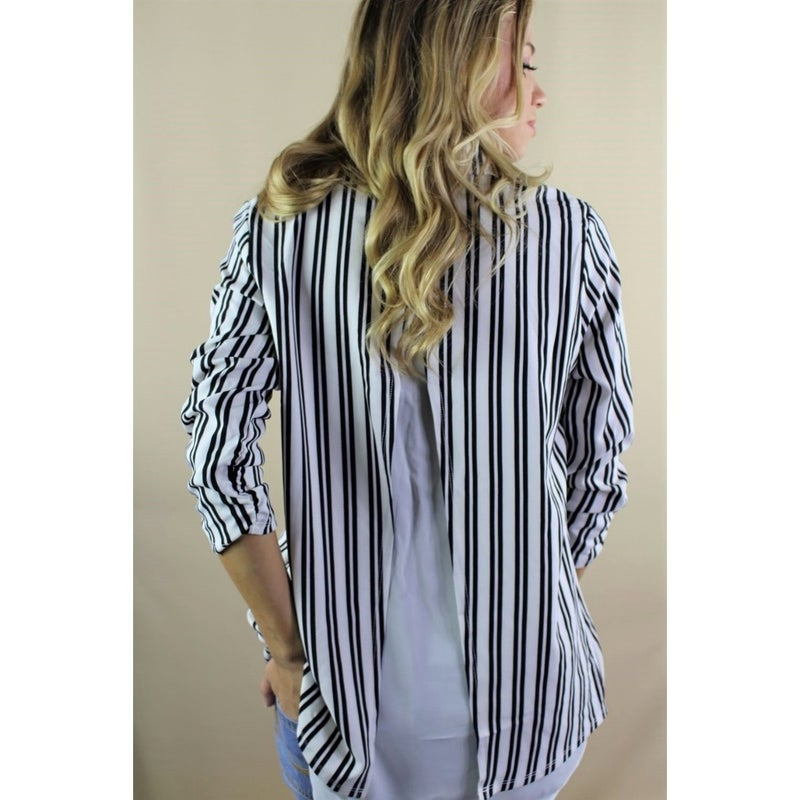Rescue You White and Black Vertical Striped Blazer with Back Slit - Sizes 2-10