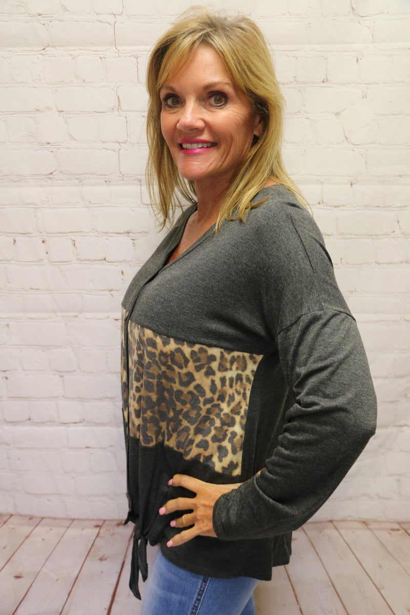 Don't Miss Me Charcoal & Leopard Colorblock Top with Front Tie - Sizes 4-20