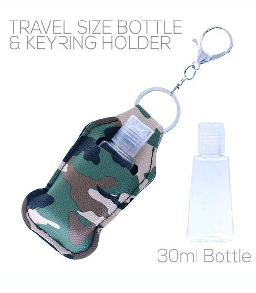 Passing By Faux Leather Keyring Holder with Reusable Bottle in Multiple Colors