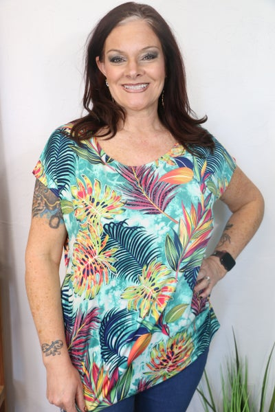 Safari Princess Short Sleeve Top with Back Keyhole Detail and Side Ruching  in Multiple Colors - Sizes 12-20