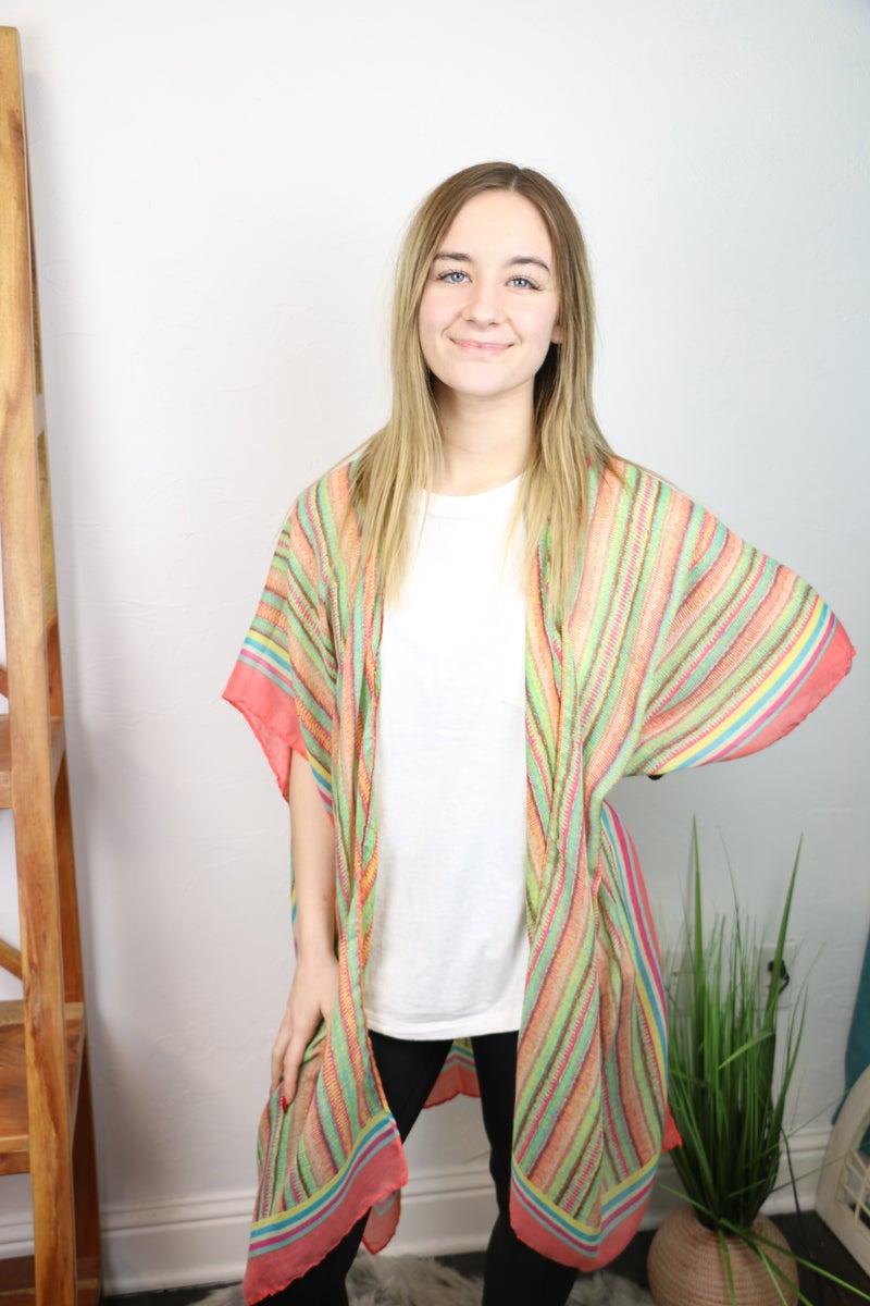 Joseph's Coat Multi Stripe Kimono In Multiple Colors - One Size