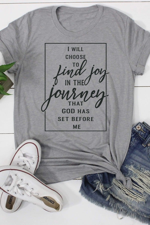 Choose to Find Joy Triblend Gray Graphic Tee  - Sizes 4-12