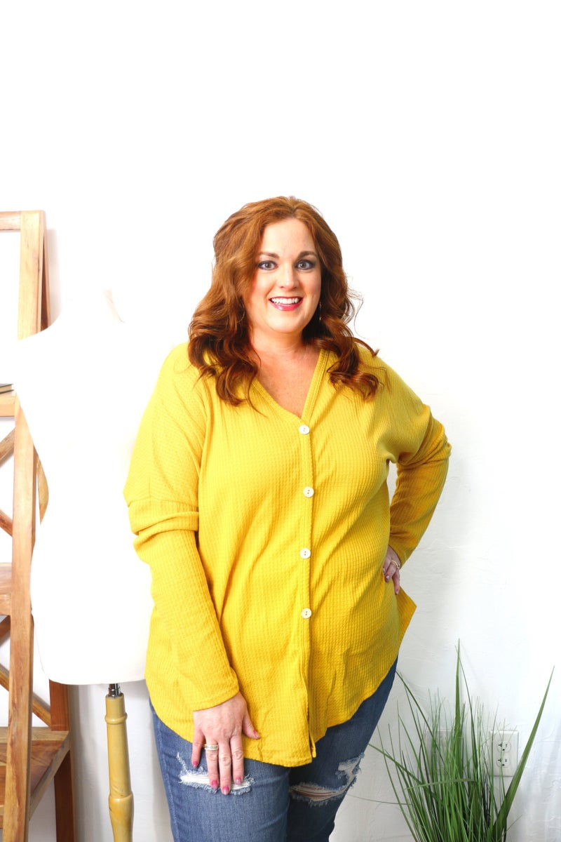 You're Favorite Ever Waffle Knit Button Down Top in Multiple Colors - Sizes 12-20