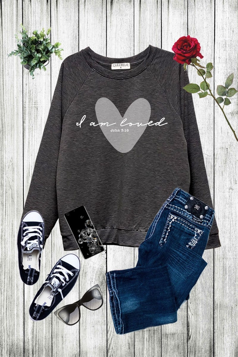 I Am Loved Soft Sweatshirt in Charcoal - Sizes 4-10