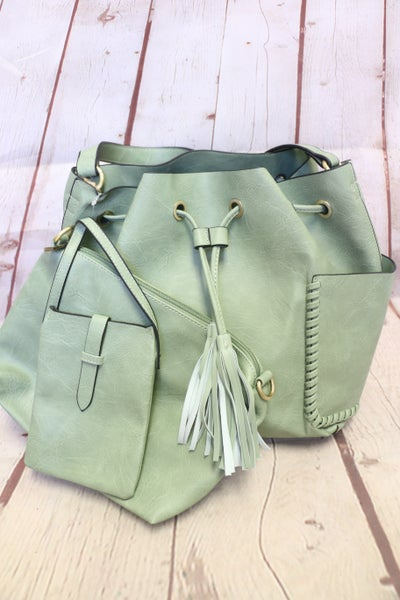 Put Together 3 Piece Bag Set With Side Pockets In Multiple Colors