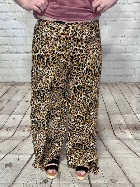 Lounge With Me Side Slit Wide Leg Palazzo Pants in Leopard ~ Sizes 4-12