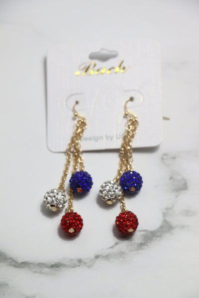 Patriotic Red White Blue Shimmer And Shine Drop Earring
