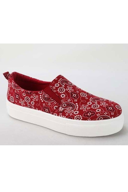 Southern Steps Red Paisley Slip On Shoe - Sizes 5.5 - 11
