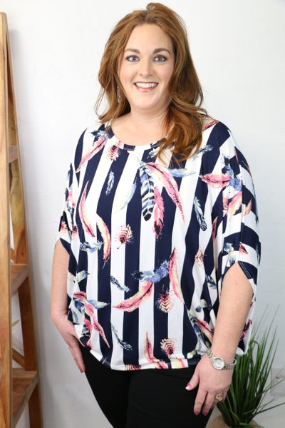 Catch Your Eye Navy and Ivory Striped Kimono with Feather Print - Sizes 12-20