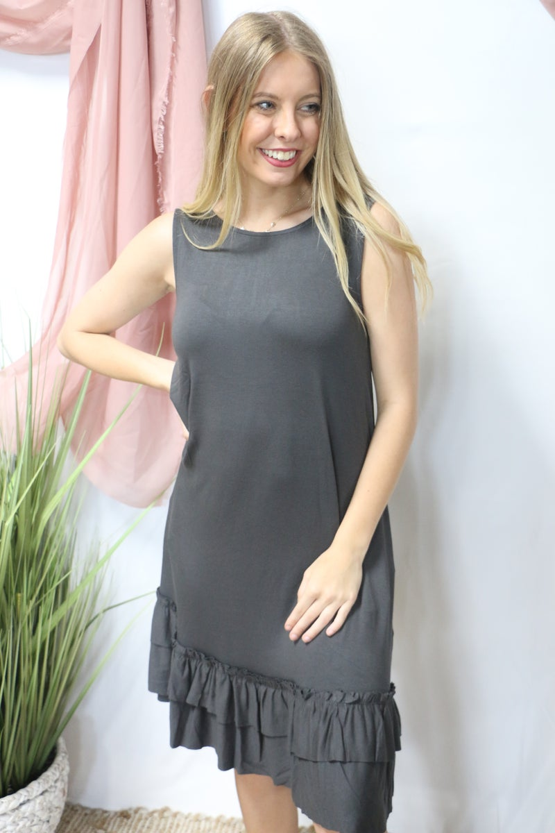 Standing On My Own Ruffle Bottom Tank Dress In Multiple Colors - Sizes 4- 20