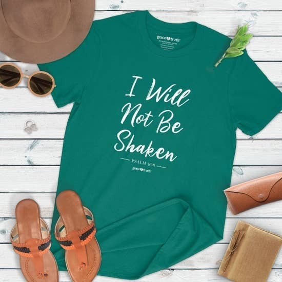 ***PRE-ORDER*** I Will Not Be Shaken Graphic Tee In Teal-Sizes 4-20