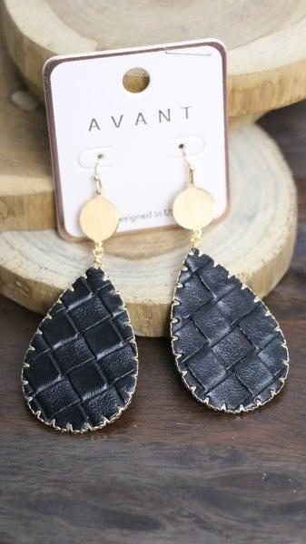 All In Teardrop Leather Basket Weave Earring In Black