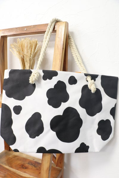 On The Move Cow Pattern Large Beach Bag With Rope Handle