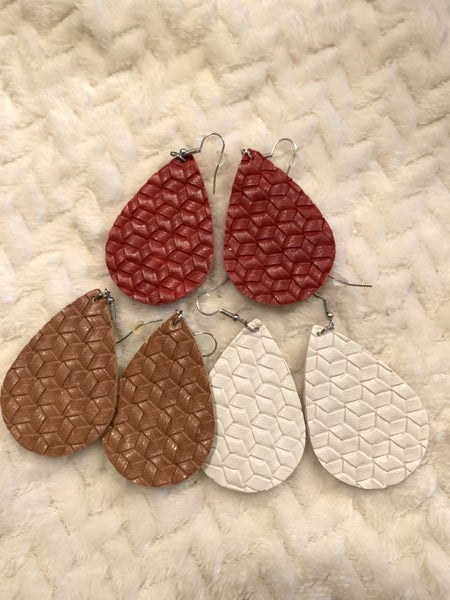 On The Road Woven Leather Teardrop Earring In Multiple Colors