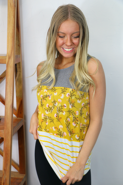 You're Loved Floral Color Block Tank Top in Multiple Colors - Sizes 4-12