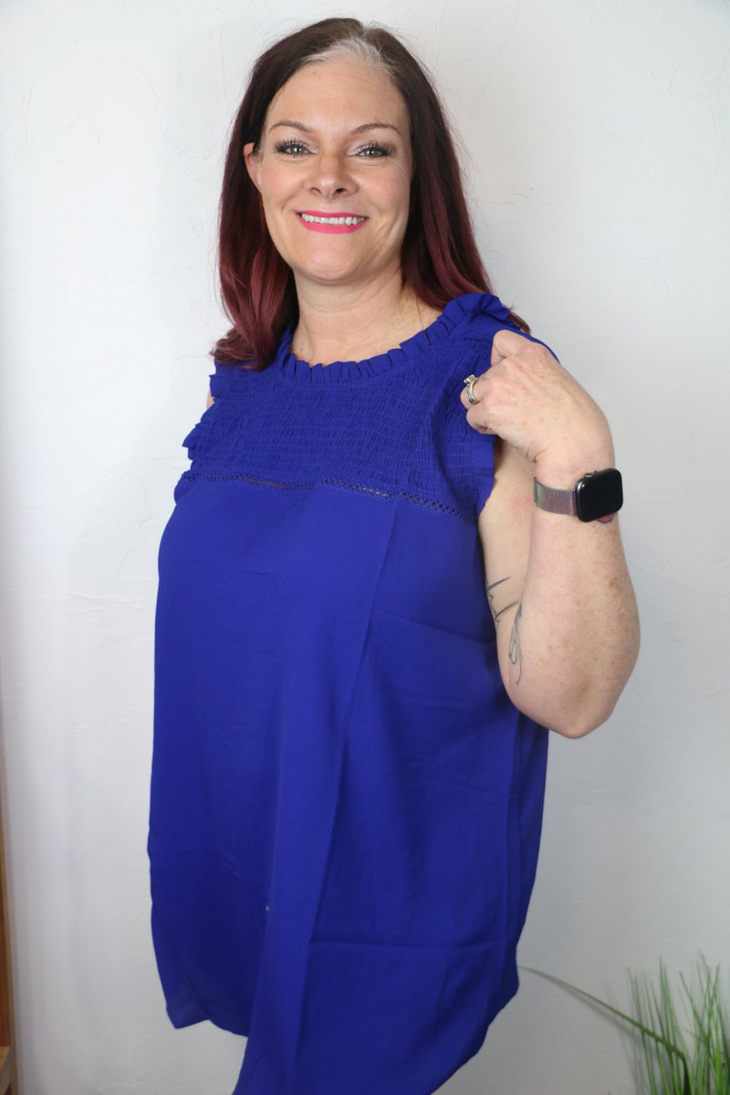 Only Forever Sleeveless Top with Smocked Neck and Ruffled Hem in Multiple Colors - Sizes 12-20
