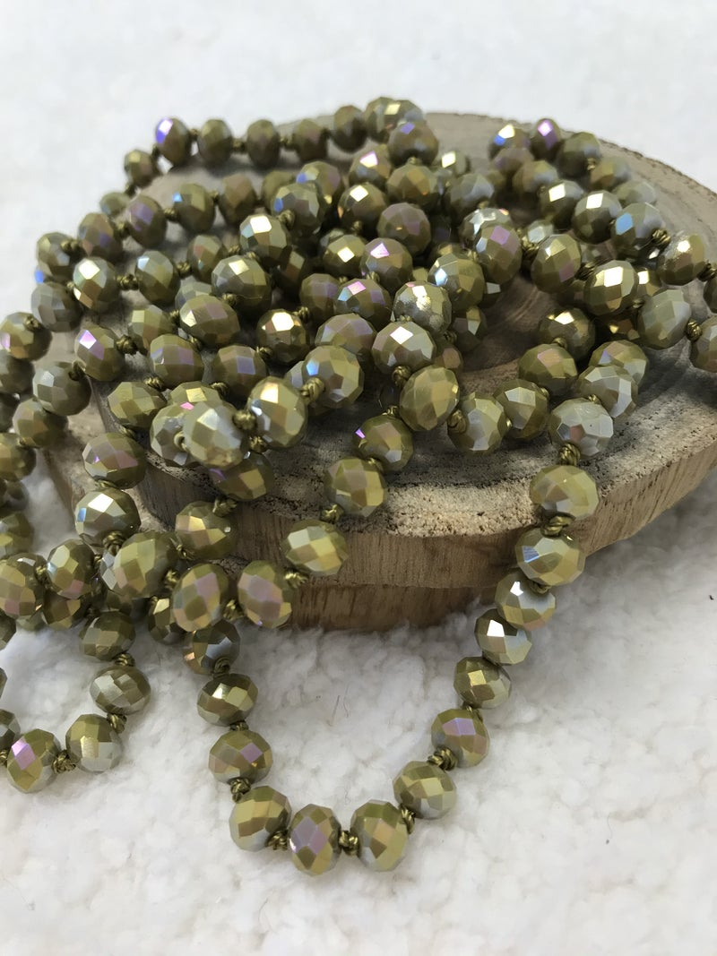 Olive Point of Perfection Beaded Necklace