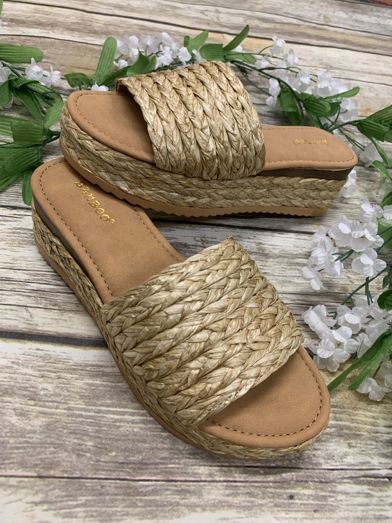 Walk The Shore Woven Platform Sandals in Natural